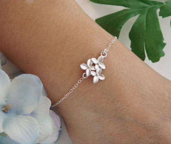 Cherry Blossom Anklet, Adjustable Anklet, STERLING Silver Bracelet, Bridesmaid Gifts, Simple Jewelry, Birthday, Flower Girl Jewelry