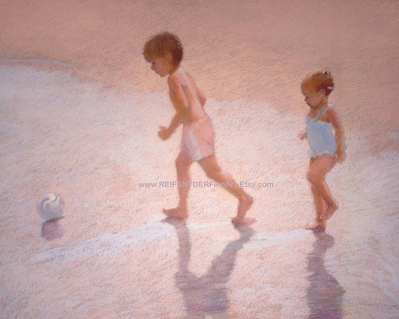 Beach print boy and girl at the seashore 8x10, 11x14 children playing at the shore, pink, ocean, blue, kids, brother, sister, kids, seaside