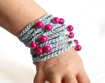 Crochet bracelet, Gray with pink beads, Handmade bracelet, Unique bracelet, Stylish crochet accessory, Very stylish wristband, wrist strap
