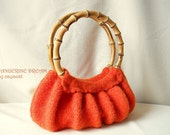 Small felted handbag TANGERINE DREAM knitted wet felted tangerine purse with bamboo handle 100% New Wool