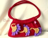 Felted purse ISIS, red handbag, ooak, red felted shoulder bag, ruby, purple, Egyptian ornament, knit bag