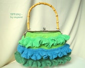 Felted purse TIFFANY knitted crocheted wet felted handbag with blue green ruffles, ruffle skirts & purse frame with bamboo handle, ooak summ