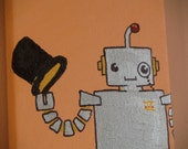 """MR. ROBOT """"with monocle and top hat"""". Cartoon-style, small canvas, 5""""x7""""."""