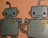 "MR. ROBOT ""best of friends"". Cartoon-style, small canvas, 8""x6""."