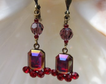 Vintage Ruby Red AB Octagon with Red Swarovski Rhinestone Dangle Earrings in Antiqued Brass