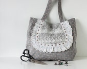 Grey Linen Tote Bag with Pink Polka Dots, Lace and Ribbon Details, Cute Japanese Asian Zakka Style Bag - Orchid