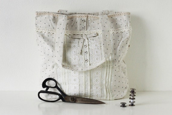 White Linen Tote Bag with Grey Polka Dots, Lace Detail and Adorable Buttons, Cute Japanese Asian Zakka Style Bag - Lily