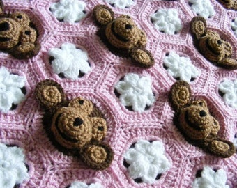 Crochet Baby Blanket PDF PATTERN Download - Baby Girl Feel/Learn Blanket, Stroller Blanket - Neapolitan Pink, Brown, White Monkey Pattern