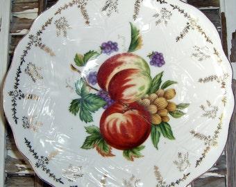 Vintage Bowl, White, Gold Trim, Fruit, Serving Bowl, Peaches
