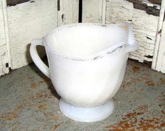 Vintage Pitcher, Creamer, Fire King, White, Milk Glass, Oven Ware, Shabby, Made in USA, Gold Trim