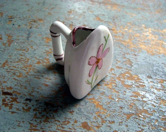 Vintage Toothpick Holder, Iron, Figurine, Miniature, Pink,  Flower, Shadow Box, Floral