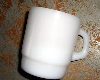 Vintage Mug, Coffee Cup,  Termocrisa Mug, White, Stacking, Coffee Mug