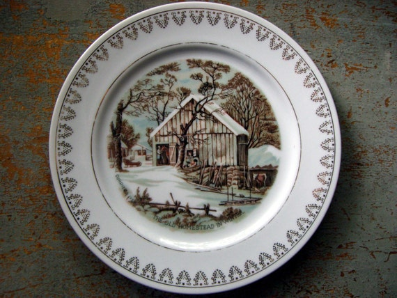 Vintage plates currier amp ives winter scenes roy thomas collection