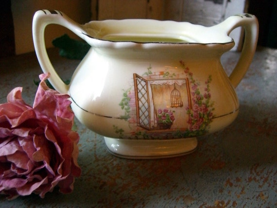 Vintage Sugar Bowl, Bird Cage, Roses, Shabby Cottage, Lido, W.S. George, Canary Tone, Made in USA