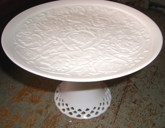 Platter, Cake Stand, Pedestal Serving Platter, White, Weddings, Cake Platter