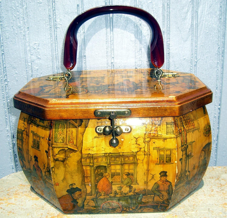 Vintage Purse Wood Box Purse Italian Scenery By Thebackshak