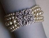 Multi strand Swarovski Pearl Bracelet -Cream Ivory Pearl Cuff Bracelet with Rhinestones