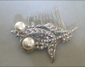 Vintage Inspired Art Nouveau Crystal Hair Comb - bridal hair comb