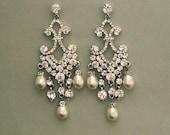 Swarovski Pearl rhinestone chandelier Earrings - Bridal Earrings - wedding accessory, bridal jewelry, crystal earrings, statement earrings
