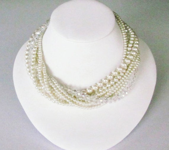Bridal Necklace - Wedding Accessory - Bold pearl multi strand  necklace - Bridal pearl and crystal necklace - Statement necklace