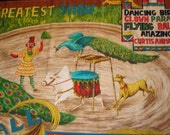 Extraordinary vintage circus fabric panel or advertisement