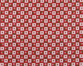 One yard of Mary Engelbreit OOP Fabric- Red and White Hearts & Flowers Checks Print
