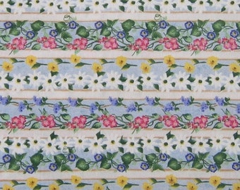 "One yard of Donna Dewberry ""Picket Fence"" floral stripe print fabric"