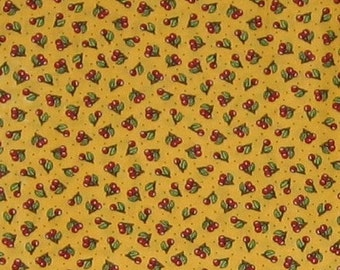 One and a half yards of Mary Engelbreit OOP fabric- Cherries on deep yellow background print