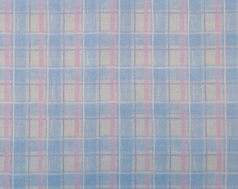 One yard of Donna Dewberrysmall pink, blue and white plaid fabric