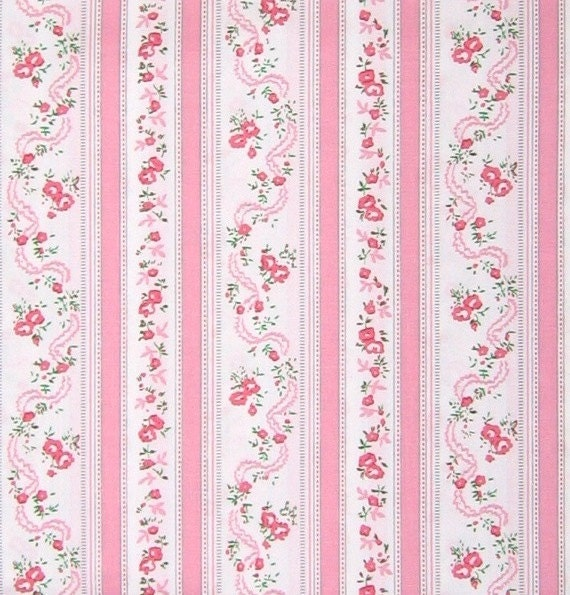 "Reserved for Sharon- Two yards of Shabby chic pink roses ""ticking"" stripe"