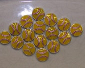 16 Metal Softball Beads, Charms- Bright Yellow, Jewelry Supplies, 15mm- Sports