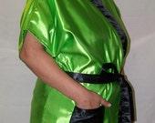 Satin Robe Green and Black- Gown, Smoking Jacket, Bridal Party Robe, Kimono, Mens or Womens Gown plus size - knee length