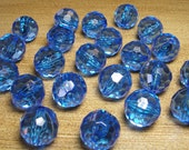 Acrylic Beads - 20mm Faceted Round - Blue (4 beads)