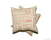 Throw Pillow Cover - Set of TWO 16x16 pillow covers - hometown collection - home decor