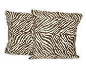 Decorative Throw Pillow Set - Set of two (2) 20x20 Pillow Covers - Zebra Pattern Pillows - Home Decor - Cushion Cover - Slip Cover