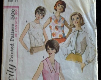 5441 No1 Simplicity Vintage Sewing Pattern 1964 1960's Mod Crew V-Neck Peter Pan Collar Ascot Blouse Shirt Top Cut Complete