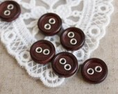 12pcs Wooden buttons / Button mahogany wood color buckle holes -mnk034