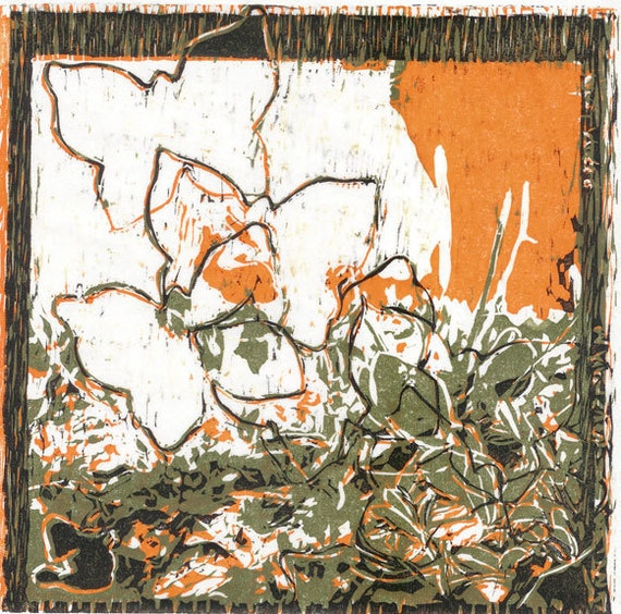Linocut  Print butterflies grass man couple in orange, green and black