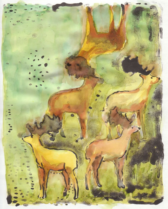 Deer original Lithograph hand colored in green and brown