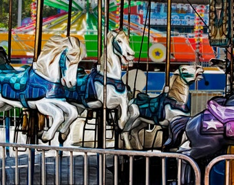 Carousel Carnival Horses Nursery Decor Colorful - Fine Art Photograph Picture Print on Aluminum