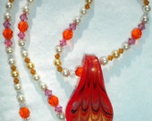 """Orange and Pink Swarovski Pearl and Crystal Necklace """"Summer Blush Necklace"""""""
