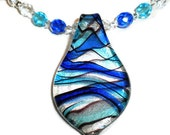 Andromeda Cobalt and Light Turquoise Crystal and Swarovski Pearl Necklace