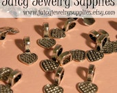 100 Small Pewter Heart Bails