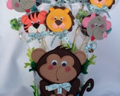 Monkey centerpiece metal bucket / Baby Shower / Baby Boy/ with toopers