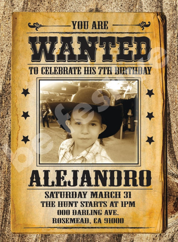 Cowboy Wanted poster invitation Printable by BeFestive on Etsy
