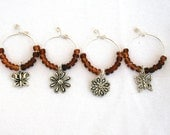 Handmade Wine Charms in Garden Brown (Set of 4)
