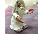 Sculpture Fantasy Renaissance Wizard White clay Art Doll