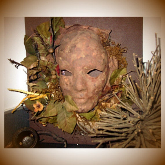 Sculpture Art woodland mask Wall Decor mixed by margewickliffe