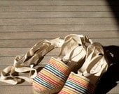 Hand painted espadrilles with  rainbow stripes