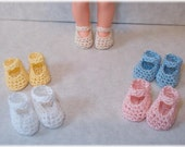 "5 Pair Crochet Mary Jane Style Shoes To Fit 4 1/2"" Kelly Barbie's Baby Sis Or Dolls of Similar Size"
